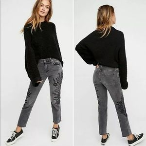 We the Free Embroidered Black High Rise Crop Jeans